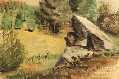 Blueridge Mountain Art Painting - Wooded Outcrop - North Carolina   1939  by Art By Tolpo Collection