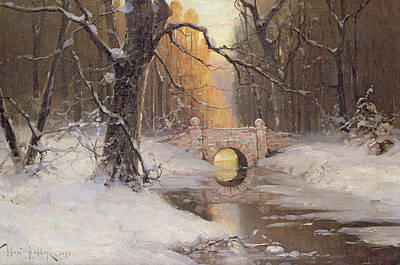 Snowy Stream Painting - Wooded River Landscape by Dimitri Kleburg