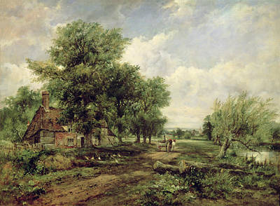 Horse-drawn Painting - Wooded River Landscape With A Cottage And A Horse Drawn Cart by Frederick Waters Watts