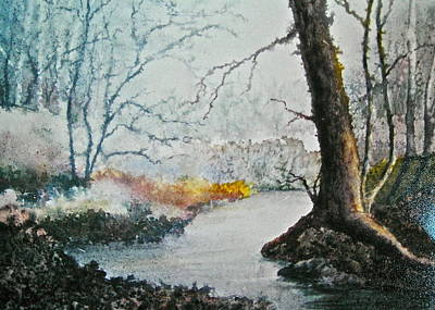 Wooded Stream Art Print by Carolyn Rosenberger