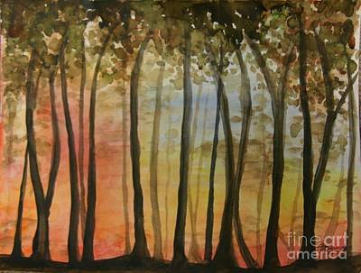 Wooded Sunset Art Print by Bev Arnold