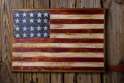 Wooden American Flag On Wood Wall Art Print by Garry Gay