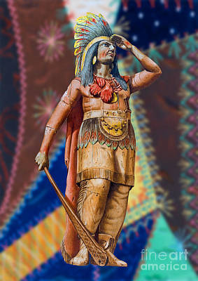 Indian Painting - Wooden American Indian by Vincent Monozlay
