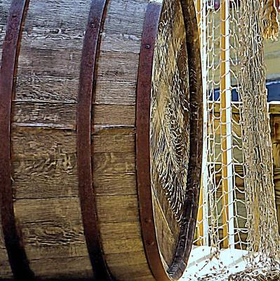 Photograph - Wooden Barrel And Net by Janice Drew