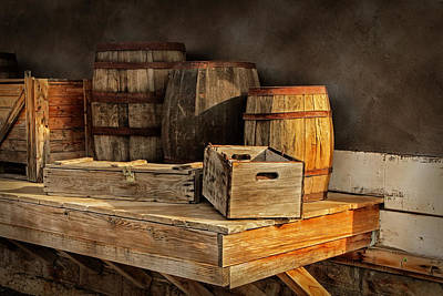 Wooden Barrels And Crates On A Shelf At A Railroad Station Art Print by Randall Nyhof