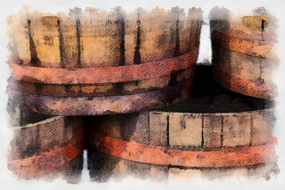 Photograph - Wooden Barrels by Brian Davis