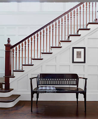 Wooden Bench And Staircase Inside House Art Print