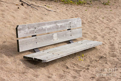 Photograph - Wooden Bench Burried In The Sand by Les Palenik