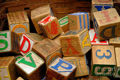 Wooden Blocks With Alphabet Letters Art Print by Amy Cicconi