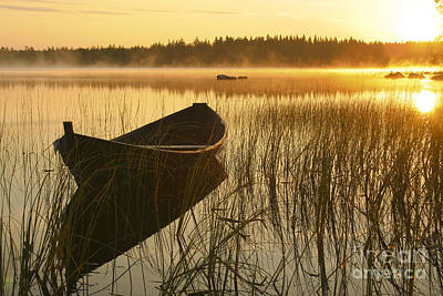 Sunrise Photograph - Wooden Boat by Veikko Suikkanen