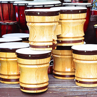 Music Concert Photograph - Wooden Bongos by Tom Gowanlock