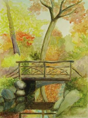 Painting - Wooden Bridge Central Park  by Nicolas Bouteneff