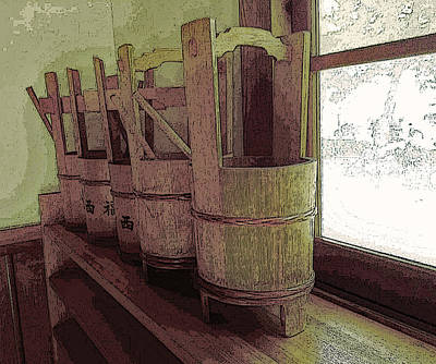 Digital Art - Wooden Buckets All In A Row by Tim Ernst