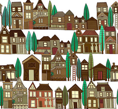 Wooden Buildings White Art Print
