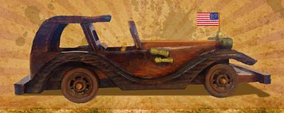 Us Flag Mixed Media - Wooden Car With U.s.flag by Vijay Kumar