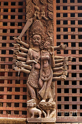 Woden Wall Art - Photograph - Wooden Carvings On A Temple In Durbar Square In Patan Nepal by Robert Preston