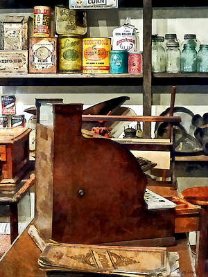 Cans Photograph - Wooden Cash Register In General Store by Susan Savad