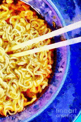 Wooden Chopsticks In Noodle Painting Art Print