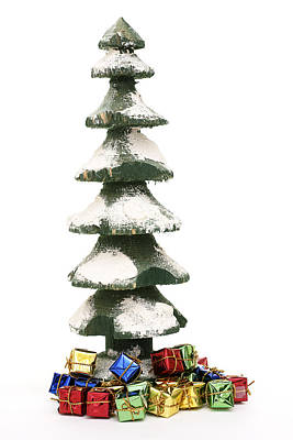 Wooden Christmas Tree With Gifts Print by Donald  Erickson