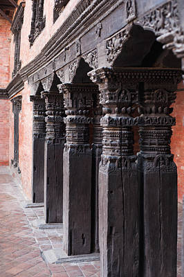 Photograph - Wooden Column At Durbar Square by U Schade