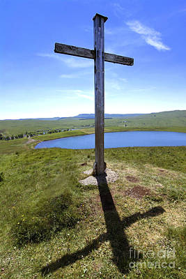 The Wooden Cross Photograph - Wooden Cross Overlooking Lake Godivelle. Puy De Dome. Auvergne. France by Bernard Jaubert