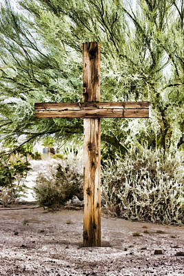 Digital Art - Wooden Cross by Photographic Art by Russel Ray Photos