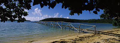 Wooden Dock Over The Sea, Vavau, Tonga Art Print by Panoramic Images