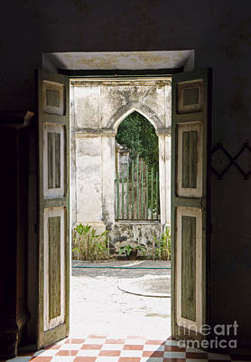 Photograph - Wooden Doors Yaxcopoil Mexico by John  Mitchell