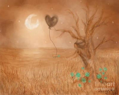 Balloon Flower Digital Art - Wooden Fairy by Audrey Wilkie