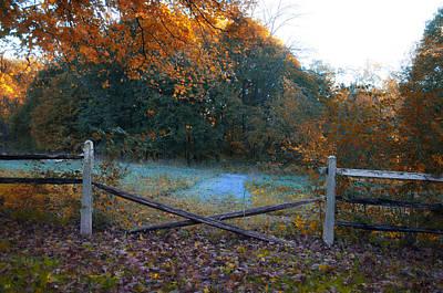Wooden Fence In Autumn Art Print