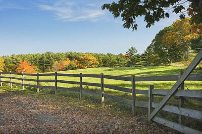 Wooden Fence In Autumn Maine Farm Pasture Art Print by Keith Webber Jr