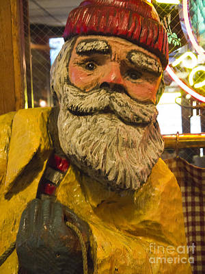 Photograph - Wooden Fisherman With A Kindly Face by Brenda Kean