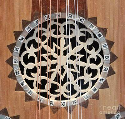 Wooden Guitar Inlay With Strings Art Print by Cynthia Snyder