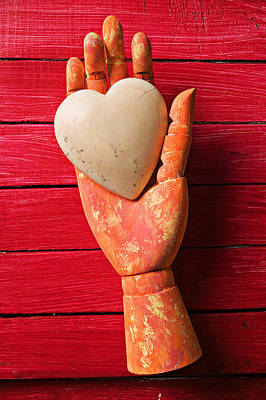 Wooden Hand With White Heart Art Print by Garry Gay
