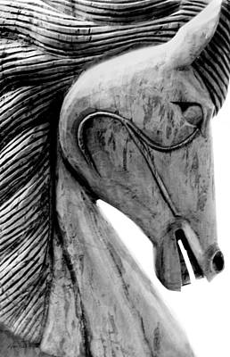 Photograph - Wooden Horse In Black And White by Ann Powell