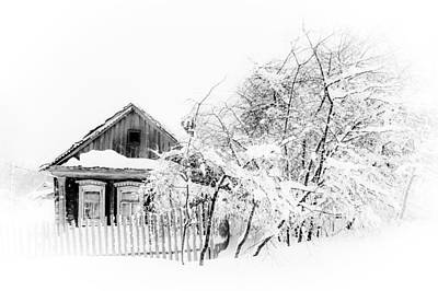 Wooden House After Heavy Snowfall 1. Russia Art Print