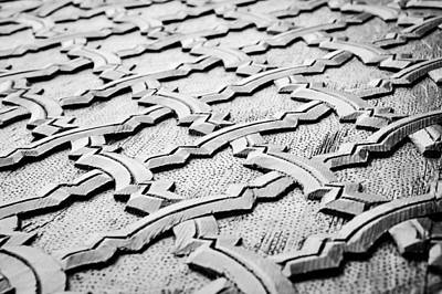 Black And White Ornamental Photograph - Wooden Islamic Carving by Tom Gowanlock