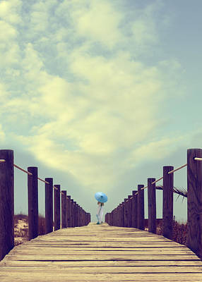 Blue Dress Photograph - Wooden Jetty by Amanda Elwell