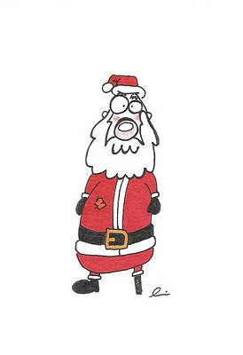 Drawing - Wooden Leg Santa by Andrea Currie
