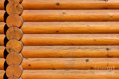 Wooden Logs Wall Background Art Print by Kiril Stanchev