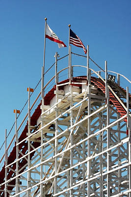 Roller Coaster Photograph - Wooden Roller Coaster by Art Block Collections
