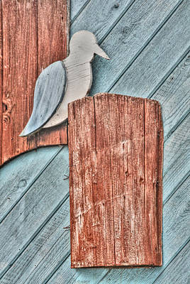 Beach Scenes Photograph - Wooden Seagull On A Pier by Heather Allen