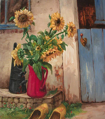 Wooden Shoes Painting - Wooden Shoes And Sunflowers by Dick Haakman
