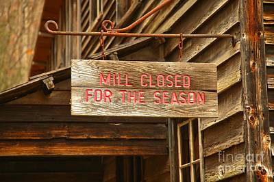 Photograph - Wooden Sign - Closed For The Season by Adam Jewell