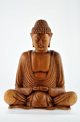 Devotional Painting - Wooden Statue Of Buddha by George Atsametakis