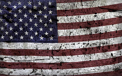 Photograph - Wooden Textured U. S. A. Flag by John Stephens