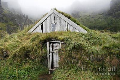 Photograph - Wooden Turf House In Iceland by Patricia Hofmeester