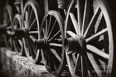 Wooden  Wagon Wheels Art Print