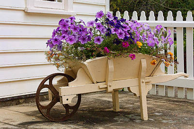 Wooden Wheelbarrow Full Of Flowers Original by Linda Phelps