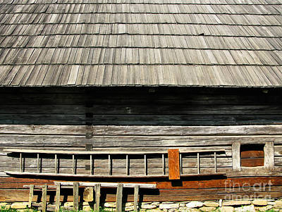 Photograph - Wooden Window And Roof  by Daliana Pacuraru